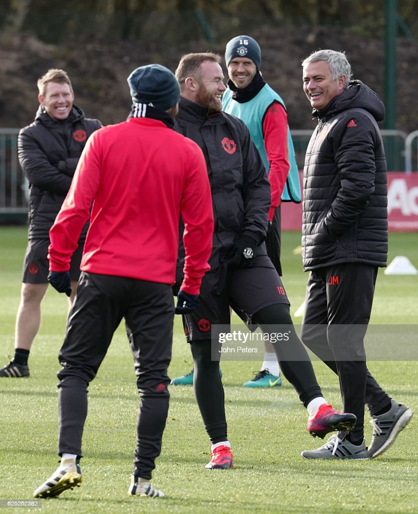 Wayne Rooney and Manager Jose Mourinho of Manchester United in action during a first team training session at Aon Training Complex on November 23, 2016 in Manchester, England.
