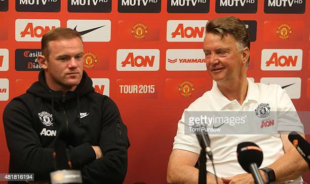 Wayne Rooney and Manager Louis van Gaal of Manchester United speak during a press conference as part of their preseason tour of the USA at Avaya...