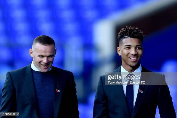 Wayne Rooney and Mason Holgate arrive before the Premier League match between Everton and Watford at Goodison Park on November 5 2017 in Liverpool...