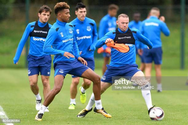 Wayne Rooney and Mason Holgate during an Everton FC training session at USM Finch Farm on August 2 2017 in Halewood England