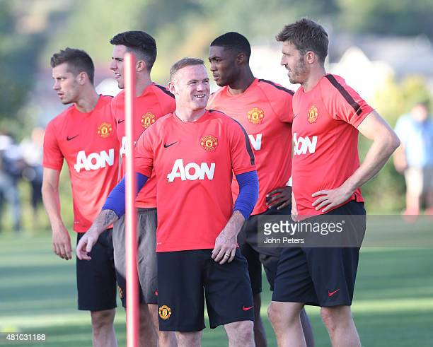 Wayne Rooney and Michael Carrick of Manchester United in action during a first team training session as part of their preseason tour of the USA at...