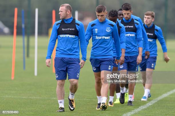 Wayne Rooney and Muhamed Besic during the Everton FC training session at USM Finch Farm on July 25 2017 in Halewood England