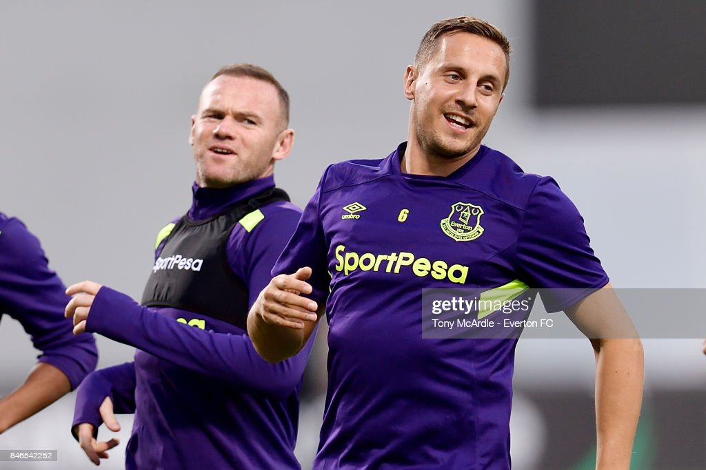 Wayne Rooney and Phil Jagielka during a Everton training session on the eve of their UEFA Europa League group E match against Atalanta, at Mapei Stadium on September 13, 2017 in Reggio nell'Emilia, Italy.