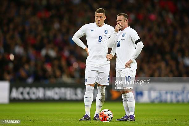 Wayne Rooney and Ross Barkley of England discuss at a free kick during the International Friendly match between England and France at Wembley Stadium...