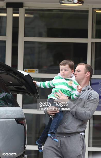 CROP Wayne Rooney and son Kai leave Liverpool Women's Hospital after visiting Coleen who gave birth to Klay Anthony Rooney at 211am