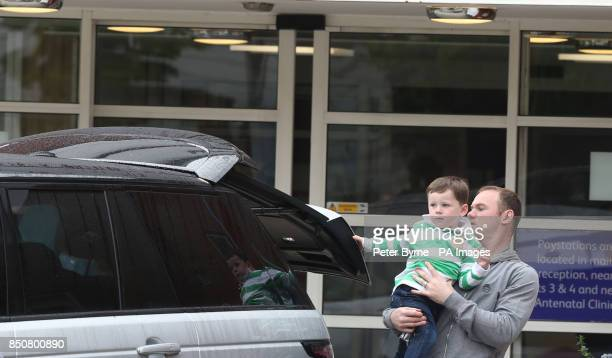 Wayne Rooney and son Kai leave Liverpool Women's Hospital after visiting Coleen who gave birth to Klay Anthony Rooney at 211am