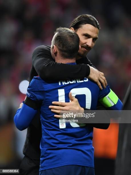 Wayne Rooney and Zlatan Ibrahimovic of Manchester United celebrate after the UEFA Europa League final match between Ajax and Manchester United at...
