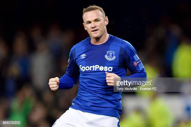 Wayne Rooney celebrates his goal during the UEFA Europa League match between Everton and Apollon Limassol at Goodison Park on September 28 2017 in...
