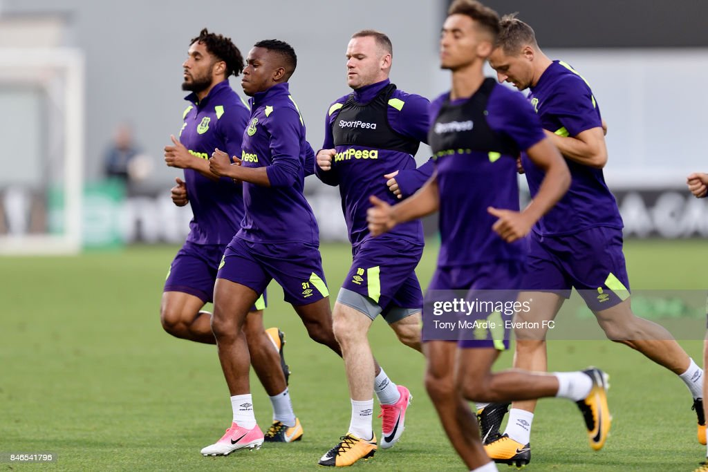 Wayne Rooney during an Everton training session on the eve of their UEFA Europa League group E match against Atalanta, at Mapei Stadium on September 13, 2017 in Reggio nell'Emilia, Italy.