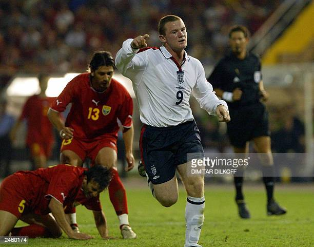 Wayne Rooney from Enlgland celebrates his goal against Macedonia during their Euro 2004 Qualifying match at the City stadium in Skopjeon 06 September...