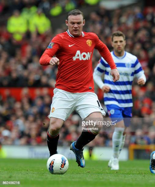Wayne Rooney in action during the Barclays Premier League match between Manchester United and Queens Park Rangers at Old Trafford on April 08 2012 in...
