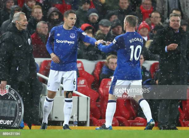 Wayne Rooney is substituted for Phil Jagielka of Everton during the Premier League match between Liverpool and Everton at Anfield on December 10 2017...