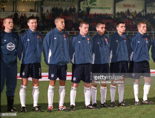 Wayne Rooney lines up for England before the Walkers Under15 International Tournament game England v Spain