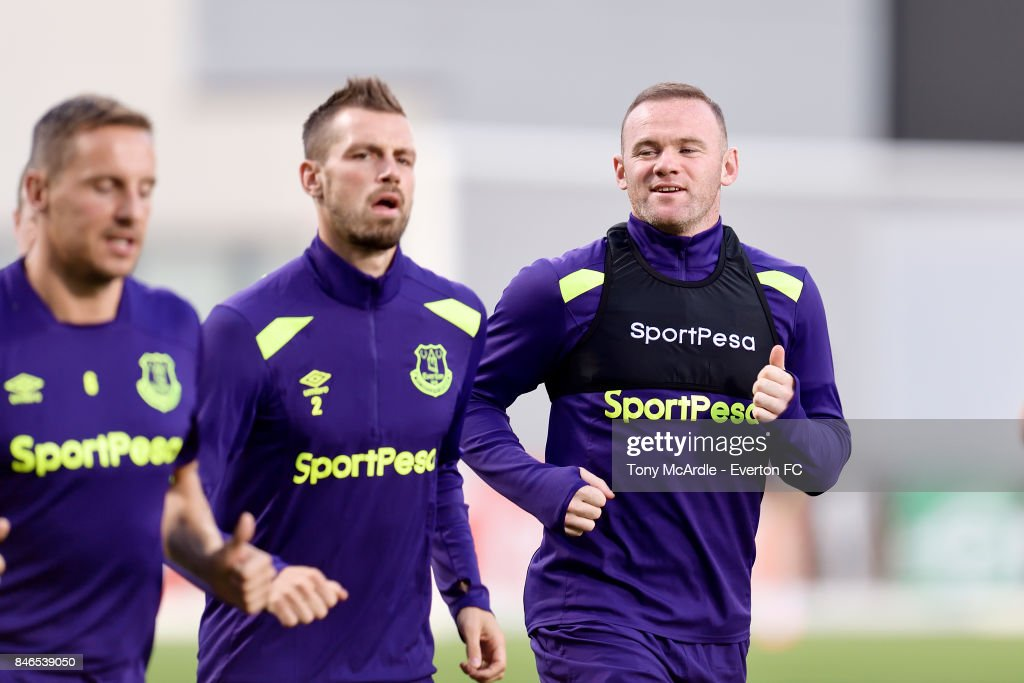Wayne Rooney, Morgan Schneiderlin and Phil Jagielka during an Everton training session on the eve of their UEFA Europa League group E match against Atalanta, at Mapei Stadium on September 13, 2017 in Reggio nell'Emilia, Italy.