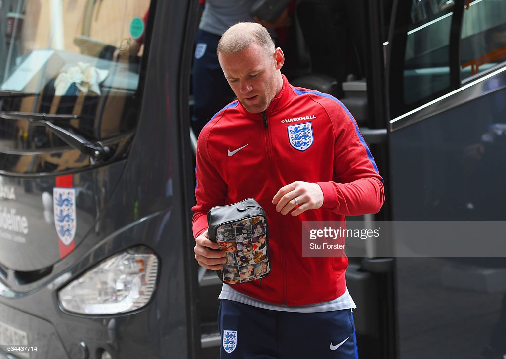 <a gi-track='captionPersonalityLinkClicked' href=/galleries/search?phrase=Wayne+Rooney&family=editorial&specificpeople=157598 ng-click='$event.stopPropagation()'>Wayne Rooney</a> of England arrives at the team hotel on the eve of their international friendly against Australia at the Hilton Gateshead on May 26, 2016 in Newcastle upon Tyne, England.