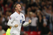 Wayne Rooney of England celebrates after scoring a goal to make it 20 his 50th goal for his country during the UEFA EURO 2016 Qualifier Group E...