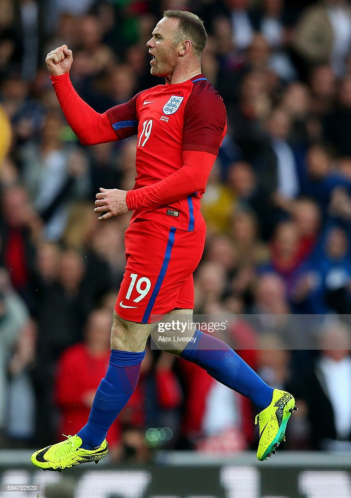 Wayne Rooney of England celebrates after scoring his team's second goal of the game during the International Friendly match between England and Australia at Stadium of Light on May 27, 2016 in Sunderland, England.