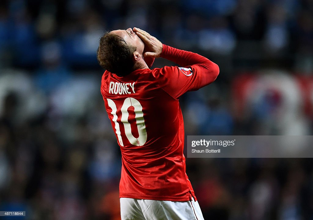 Wayne Rooney of England celebrates after scoring the opening goal from a free kick during the EURO 2016 Qualifier match between Estonia and England at A. Le Coq Arena on October 12, 2014 in Tallinn, Estonia.