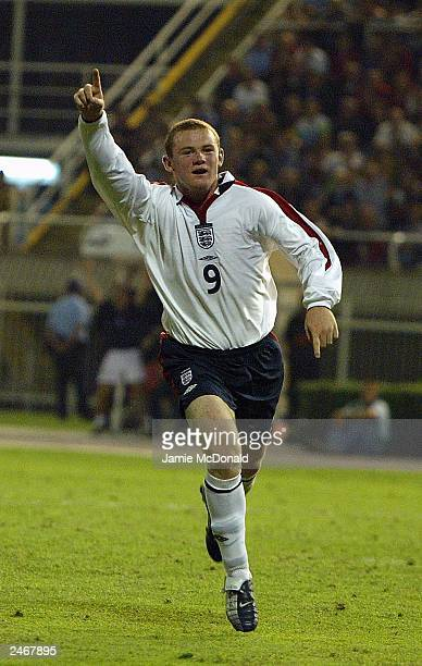 Wayne Rooney of England celebrates scoring a goal during the Euro 2004 qualifying match between Macedonia and England in the City Stadium on...