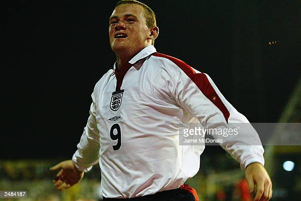 Wayne Rooney of England celebrates scoring and becoming England's youngest ever goal scorer during the Euro 2004 group 7 qualifying match between...