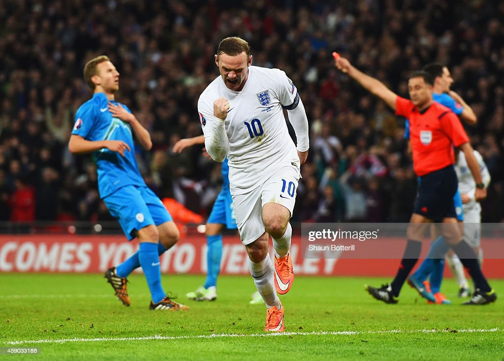 Wayne Rooney of England celebrates scoring England's first and equalizing goal during the EURO 2016 Qualifier Group E match between England and...