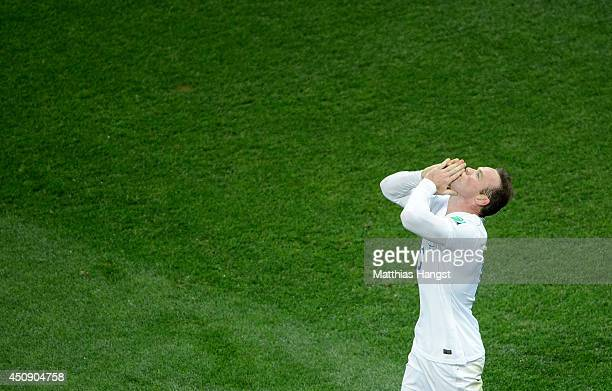 Wayne Rooney of England celebrates scoring his team's first goal during the 2014 FIFA World Cup Brazil Group D match between Uruguay and England at...