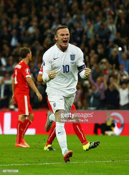 Wayne Rooney of England celebrates scoring his team's second goal breaking the record of 49 goals set by Sir Bobby Charlton during the UEFA EURO 2016...