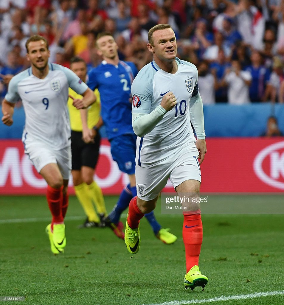 <a gi-track='captionPersonalityLinkClicked' href=/galleries/search?phrase=Wayne+Rooney&family=editorial&specificpeople=157598 ng-click='$event.stopPropagation()'>Wayne Rooney</a> of England celebrates scoring the opening goal during the UEFA EURO 2016 round of 16 match between England and Iceland at Allianz Riviera Stadium on June 27, 2016 in Nice, France.