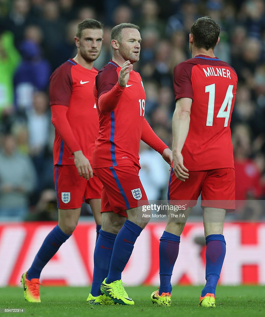 <a gi-track='captionPersonalityLinkClicked' href=/galleries/search?phrase=Wayne+Rooney&family=editorial&specificpeople=157598 ng-click='$event.stopPropagation()'>Wayne Rooney</a> of England celebrates scoring their second goal during the International Friendly match between England and Australia at Stadium of Light on May 27, 2016 in Sunderland, England.