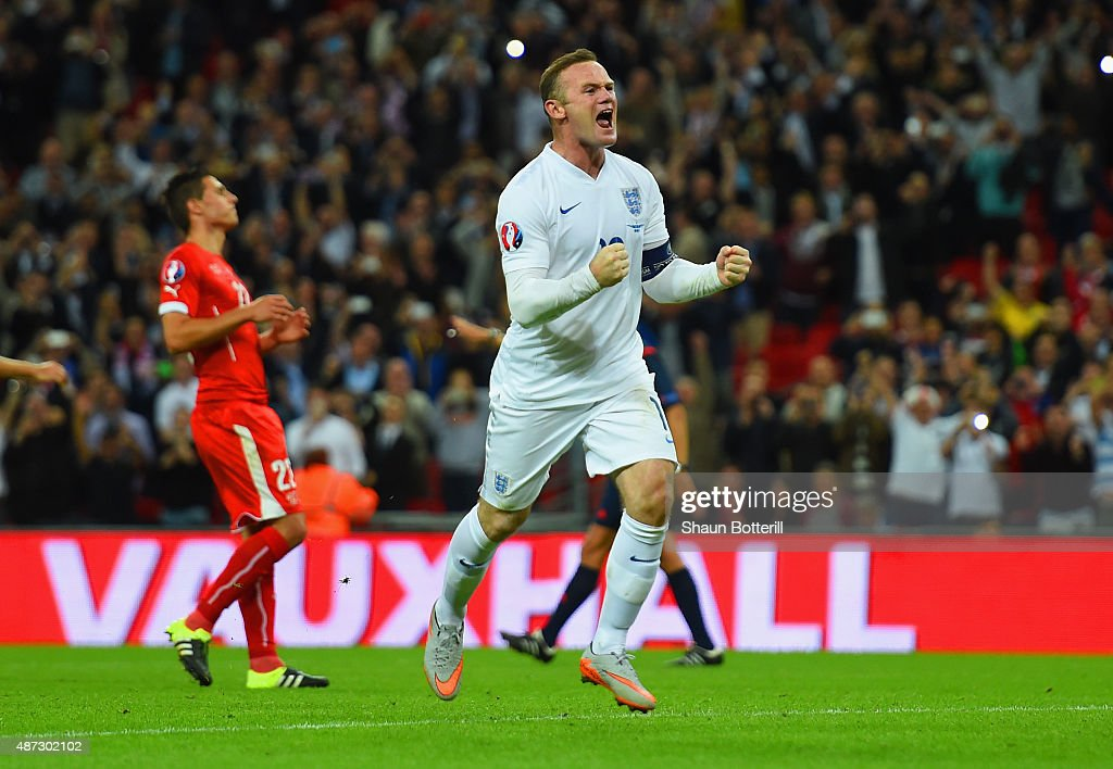 <a gi-track='captionPersonalityLinkClicked' href=/galleries/search?phrase=Wayne+Rooney&family=editorial&specificpeople=157598 ng-click='$event.stopPropagation()'>Wayne Rooney</a> of England celebrates scoring their second goal from the penalty spot during the UEFA EURO 2016 Group E qualifying match between England and Switzerland at Wembley Stadium on September 8, 2015 in London, United Kingdom. <a gi-track='captionPersonalityLinkClicked' href=/galleries/search?phrase=Wayne+Rooney&family=editorial&specificpeople=157598 ng-click='$event.stopPropagation()'>Wayne Rooney</a>'s 50th goal breaks the record for most international goals scored for England. Sir Bobby Charlton held the record previously with 49 goals.