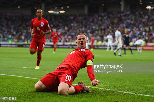 Wayne Rooney of England celebrates scoring their third goal during the UEFA EURO 2016 Qualifier between Slovenia and England on at the Stozice Arena...