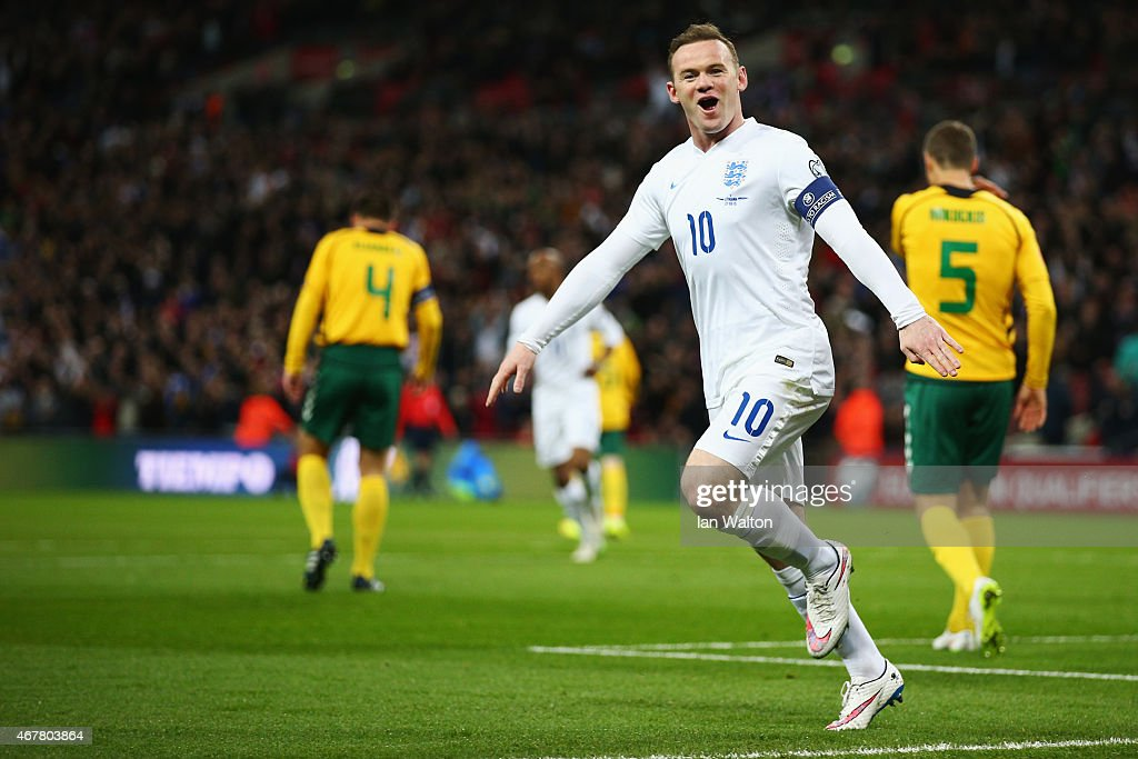 <a gi-track='captionPersonalityLinkClicked' href=/galleries/search?phrase=Wayne+Rooney&family=editorial&specificpeople=157598 ng-click='$event.stopPropagation()'>Wayne Rooney</a> of England celebrates the first goal during the EURO 2016 Qualifier match between England and Lithuania at Wembley Stadium on March 27, 2015 in London, England.