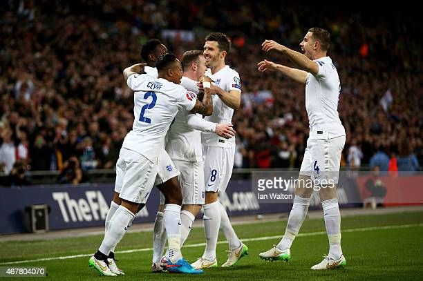 Wayne Rooney of England celebrates the first goal with his team mates during the EURO 2016 Qualifier match between England and Lithuania at Wembley...