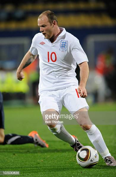 Wayne Rooney of England during the 2010 FIFA World Cup South Africa Group C match between England and USA at the Royal Bafokeng Stadium on June 12...