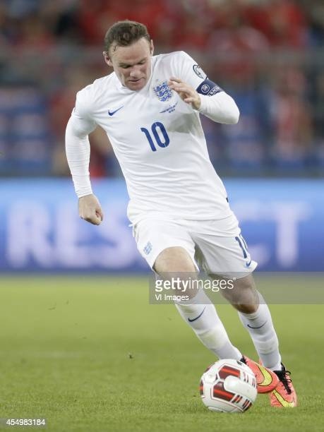 Wayne Rooney of England during the EURO 2016 qualifying match between Switzerland and England on September 8 2014 at the St Jakobpark in Basel...