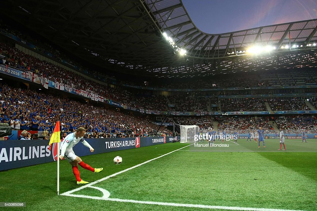 Wayne Rooney of England during the European Championship match Round of 16 between England and Iceland at Allianz Riviera Stadium on June 27, 2016 in Nice, France.