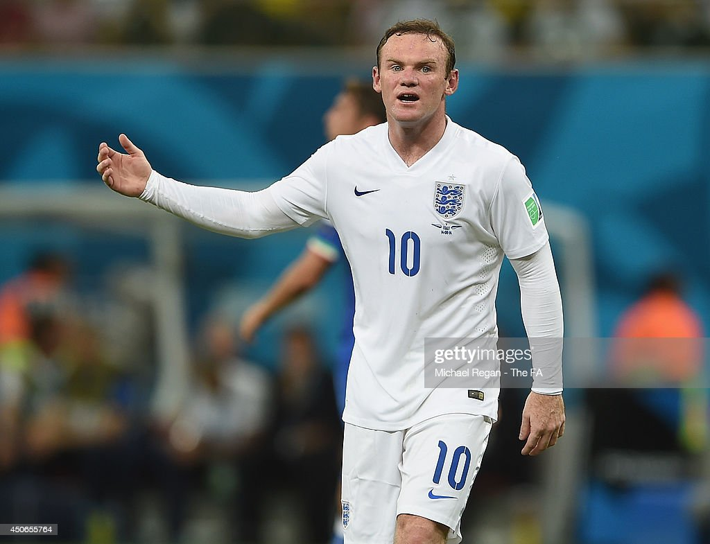 Wayne Rooney of England gestures during the 2014 FIFA World Cup Brazil Group D match between England and Italy at Arena Amazonia on June 14, 2014 in Manaus, Brazil.