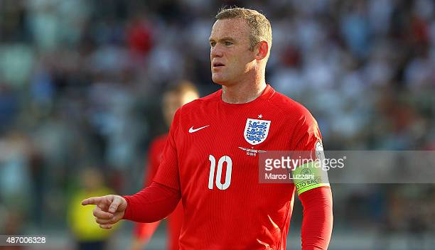 Wayne Rooney of England gestures during the UEFA EURO 2016 Qualifier between San Marino and England at Stadio Olimpico on September 5 2015 in San...