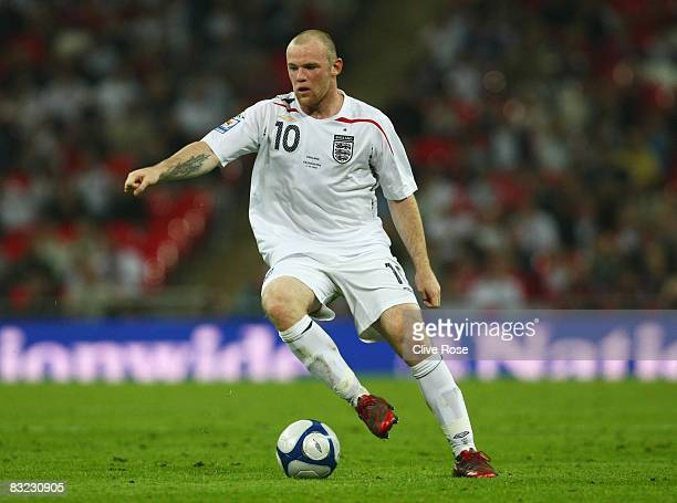 Wayne Rooney of England in action during the 2010 World Cup qualifying match between England and Kazakhstan at Wembley Stadium on October 11 2008 in...