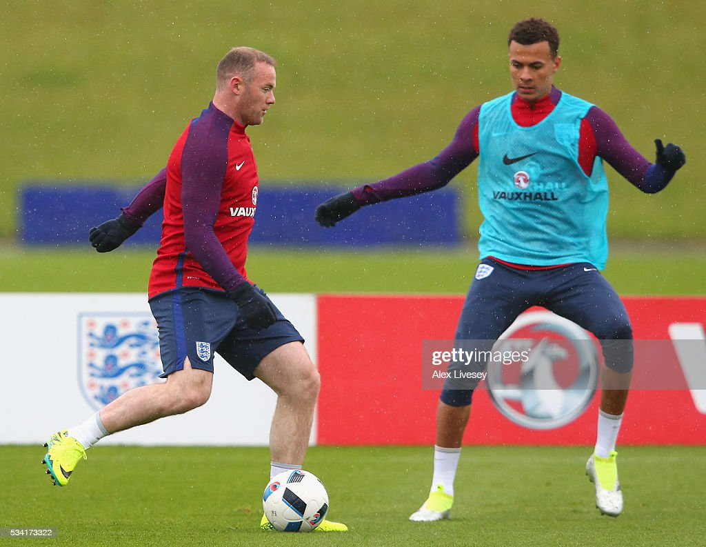 Wayne Rooney of England in action during the England training session at Manchester City Football Academy on May 25, 2016 in Manchester, England.