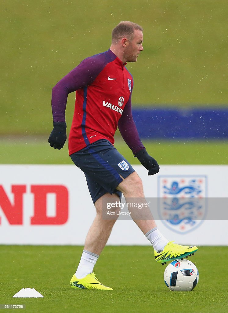 <a gi-track='captionPersonalityLinkClicked' href=/galleries/search?phrase=Wayne+Rooney&family=editorial&specificpeople=157598 ng-click='$event.stopPropagation()'>Wayne Rooney</a> of England in action during the England training session at Manchester City Football Academy on May 25, 2016 in Manchester, England.