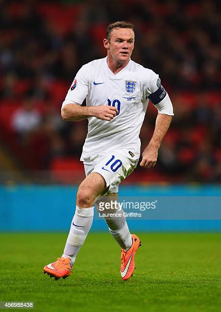 Wayne Rooney of England in action during the EURO 2016 Group E Qualifying match between England and San Marino at Wembley Stadium on October 9 2014...