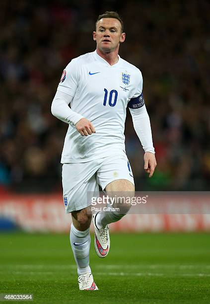 Wayne Rooney of England in action during the EURO 2016 Qualifier match between England and Lithuania at Wembley Stadium on March 27 2015 in London...