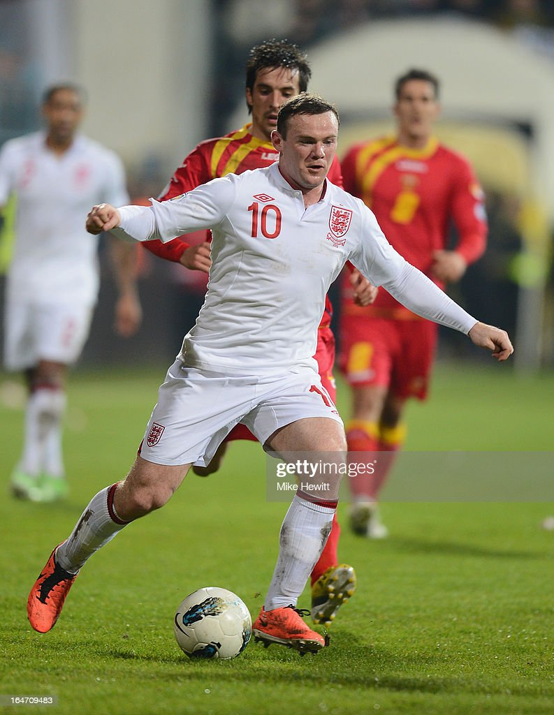 Wayne Rooney of England in action during the FIFA 2014 World Cup Group H Qualifier between Montenegro and England at City Stadium on March 26, 2013 in Podgorica, Montenegro.