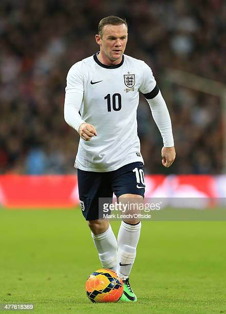 Wayne Rooney of England in action during the international friendly between England and Denmark at Wembley Stadium on March 5 2014 in London England