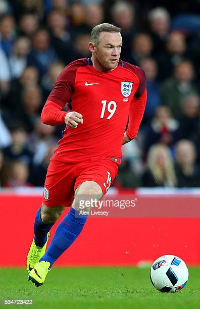 Wayne Rooney of England in action during the International Friendly match between England and Australia at Stadium of Light on May 27 2016 in...