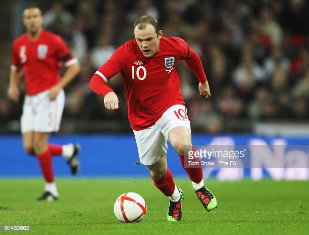 Wayne Rooney of England in action during the International Friendly match between England and Egypt at Wembley Stadium on March 3 2010 in London...