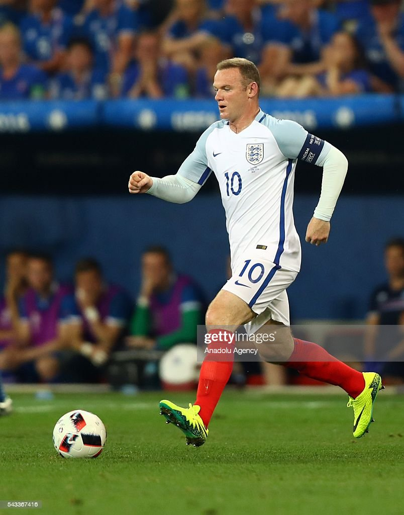 Wayne Rooney of England in action during the UEFA Euro 2016 Round of 16 football match between Iceland and England at Stade de Nice in Nice, France on June 27, 2016.