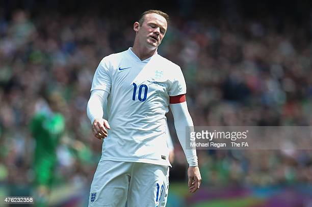 Wayne Rooney of England looks dejected during the international friendly match between Ireland and England at the Aviva Stadium on June 7 2015 in...