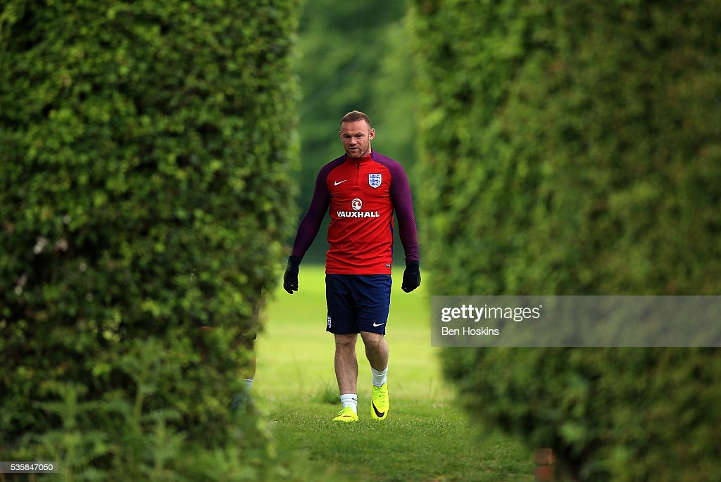 <a gi-track='captionPersonalityLinkClicked' href=/galleries/search?phrase=Wayne+Rooney&family=editorial&specificpeople=157598 ng-click='$event.stopPropagation()'>Wayne Rooney</a> of England looks on during an England training session on May 30, 2016 in London, England.